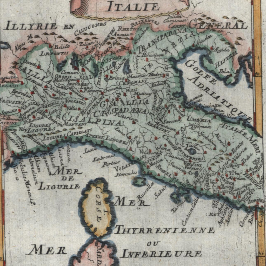 Northern Italy Italia 1719 old Mallet miniature map hand color charming