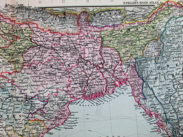 Southern British India Ceylon Bangladesh Burma Ganges Delta 1890 old Stieler map