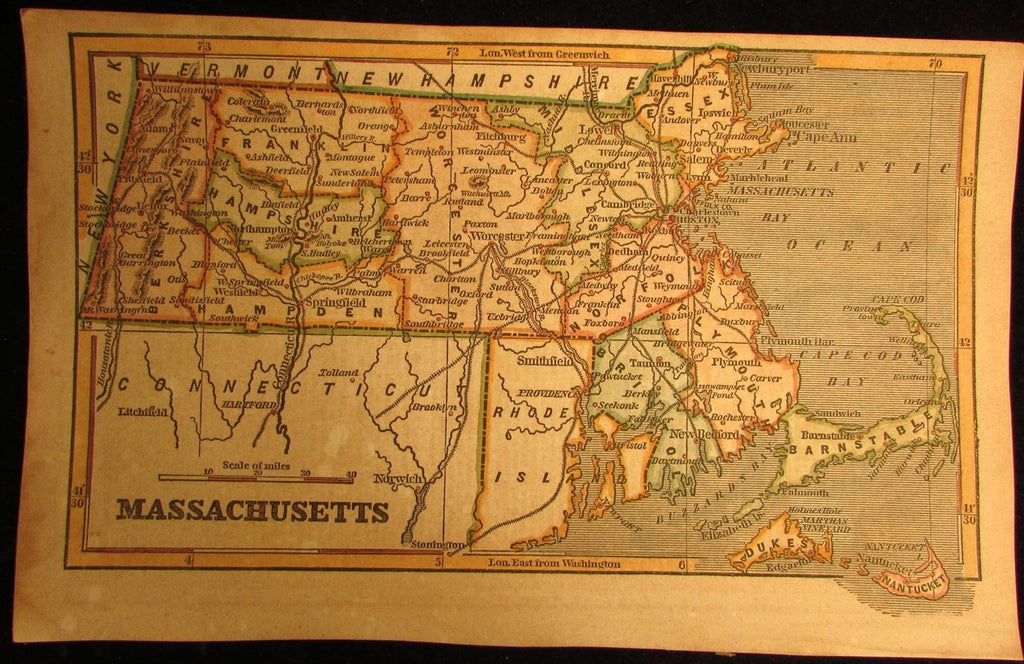 Massachusetts state scarce 1853 Phelps cerographic antique map