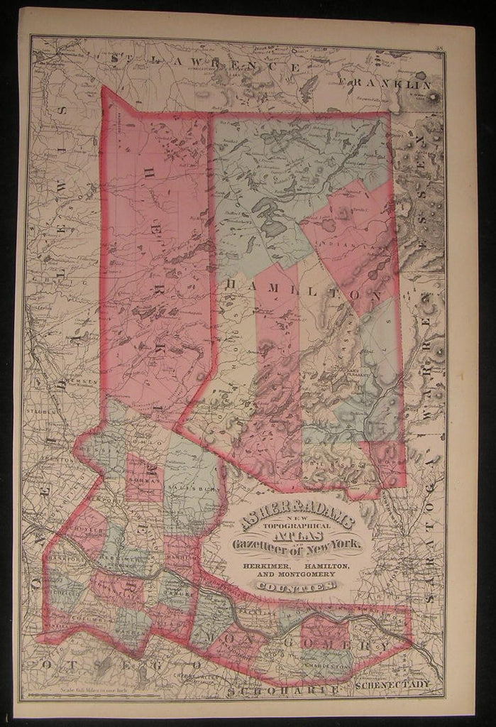 NY Hamilton Montgomery Herkimer Counties 1870 fine old vintage antique map