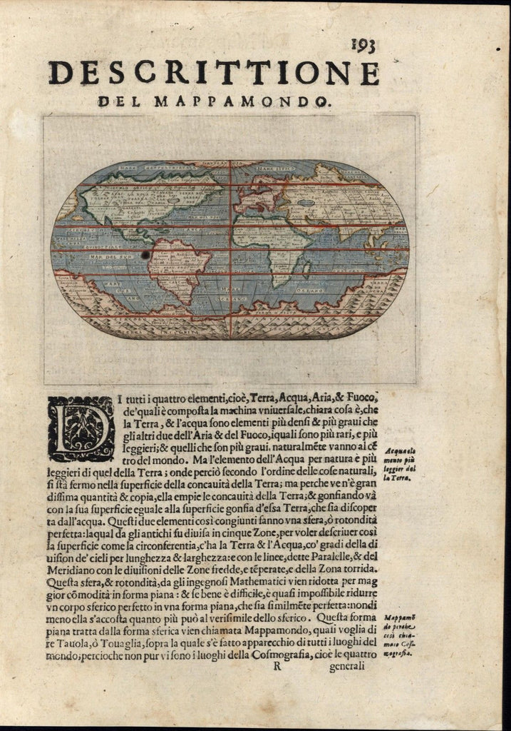 World map Huge southern continent no Australia 1620 Porcacchi Porro antique map