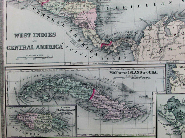 Florida state Panama Nicaragua Proposed Canals Bermuda 1889 Bradley huge old map
