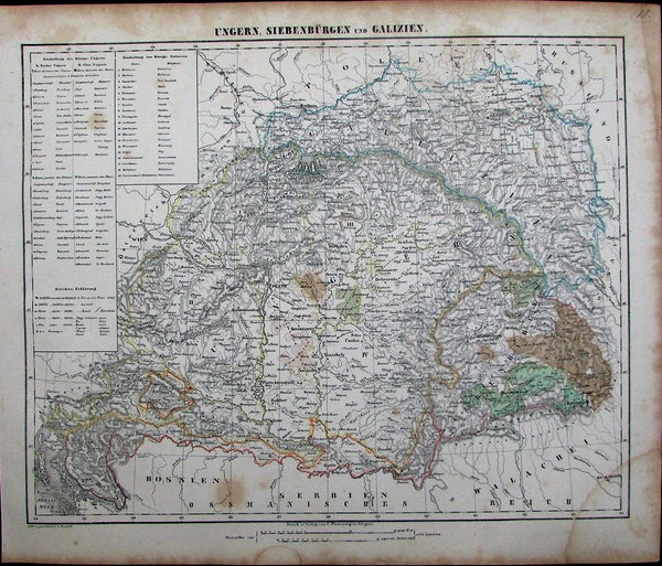Austria-Hungary Bosnia Serbia Poland Walachia c.1849 antique detailed German map