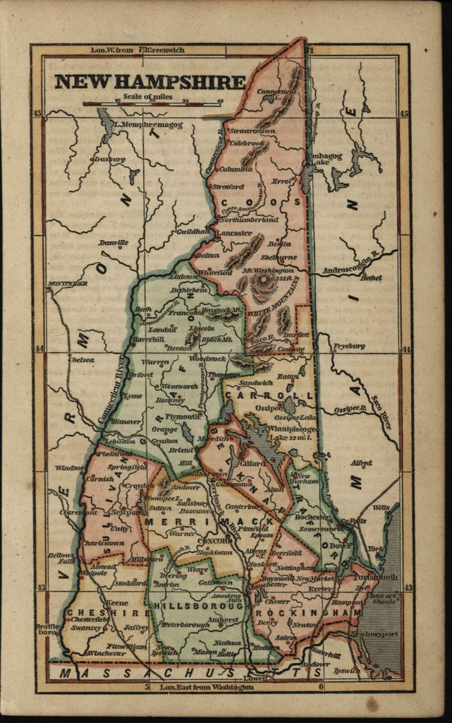 New Hampshire state map 1854 Phelps Ensign old cerographic hand colored map
