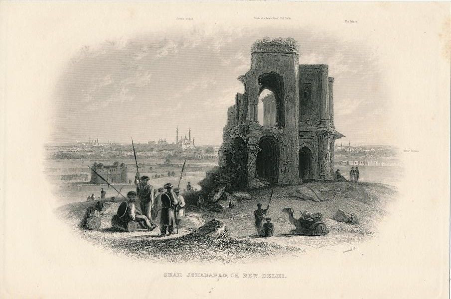 Tower ruins overlooking New Delhi India ca. 1850 era antique view print