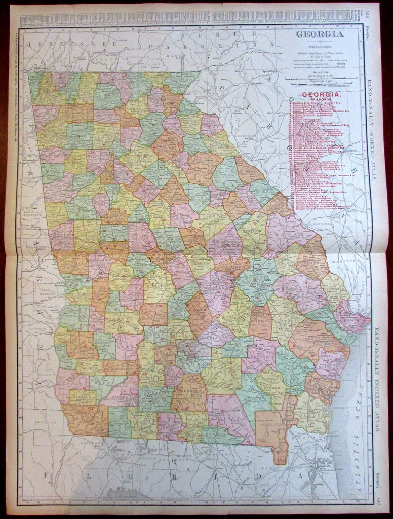 Georgia state by itself Railroads 1908 huge detailed Rand McNally map