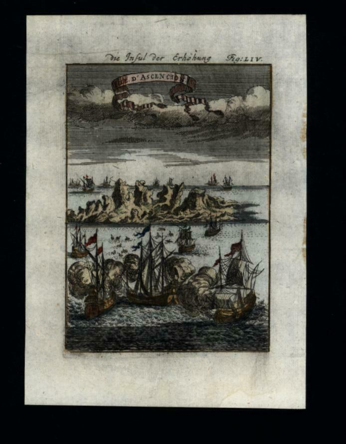 Ascension Island bird's eye view 1719 Mallet hand colored print