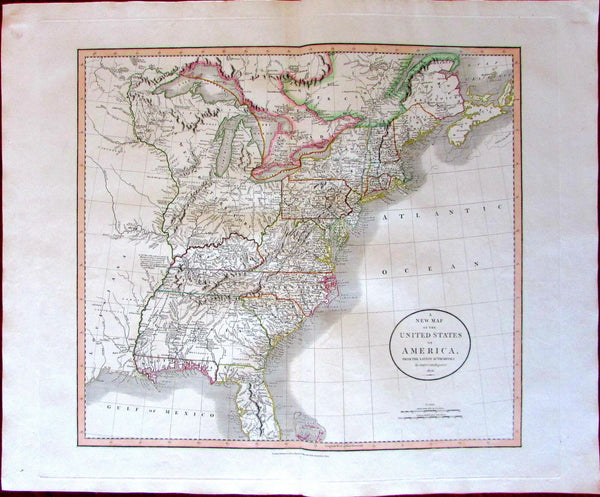 United States Florida Louisiana Western Territories 1806 John Cary fine old map