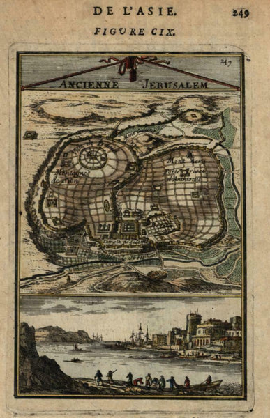 Ancient Jerusalem Holy Land 1683 Mallet birds-eye map plan city view hand color