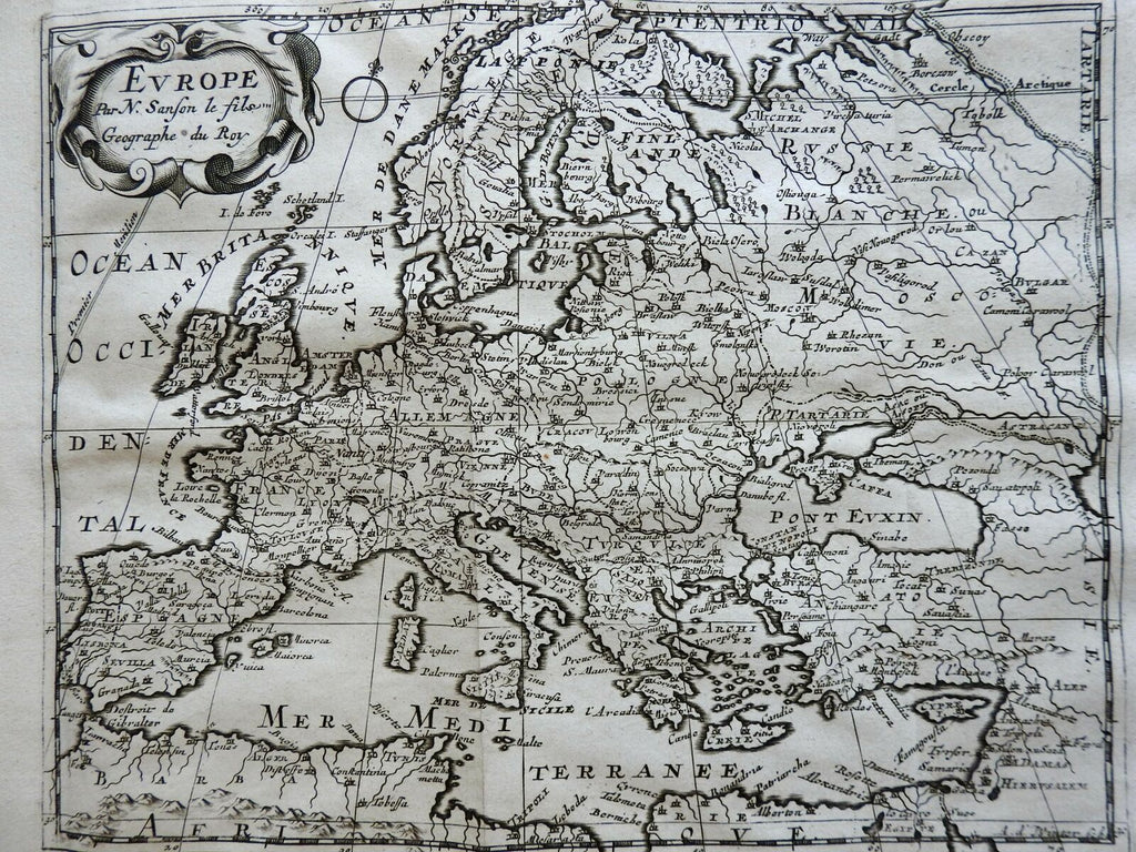 Europe Holy Roman Empire British Isles Russia Spain France 1715 Sanson map