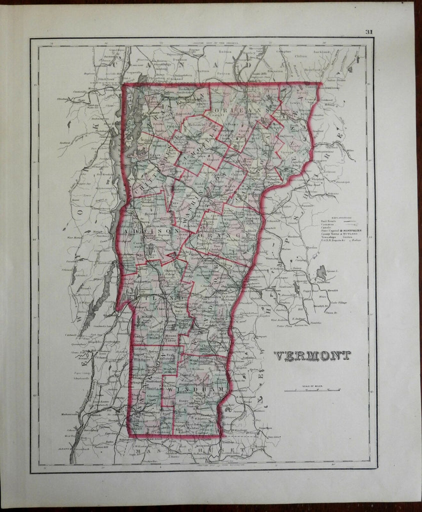 Vermont state map by itself New England 1880 Walsh Colton map