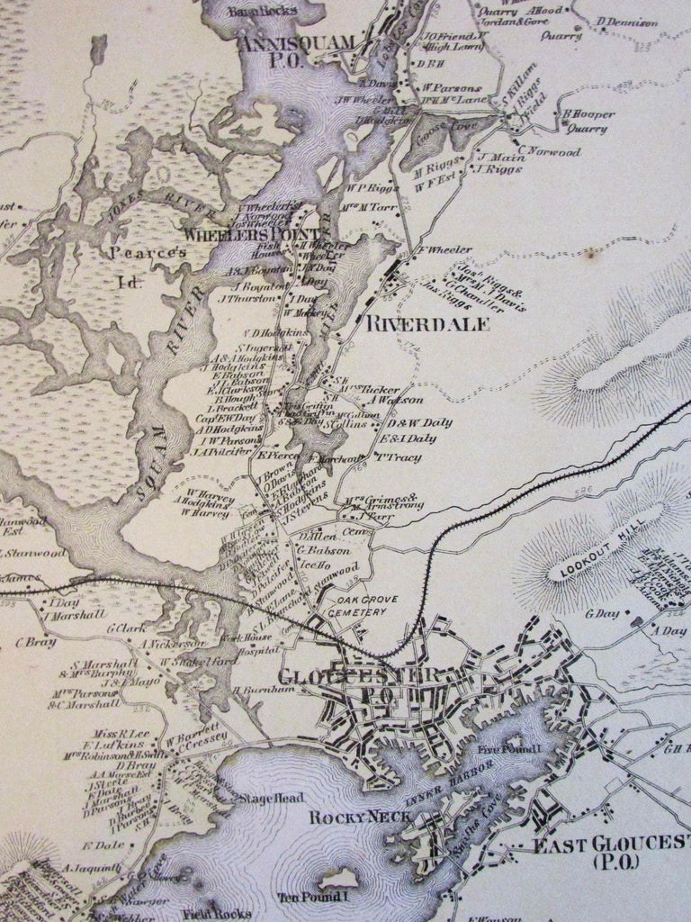Gloucester Riverdale Annisquam Bay View Essex County Mass. 1872 detailed old map