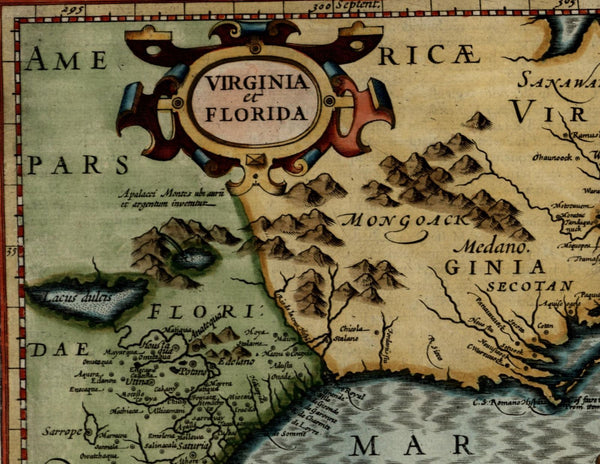 Hispania Nova New Spain California coast 1625 Mercator minor small antique map