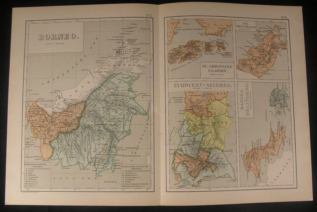 Borneo Southwest Celebes Indonesia Minahasa 1895 antique color lithograph map