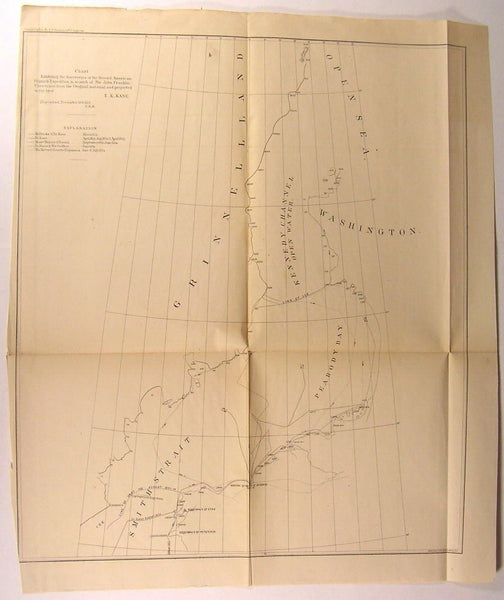 Grinnell Land Greenland Smith Strait Canada 1855 U.S.C.S. Kane nautical chart