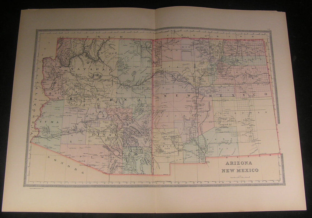Arizona & New Mexico together 1889 old vintage large detailed hand color map