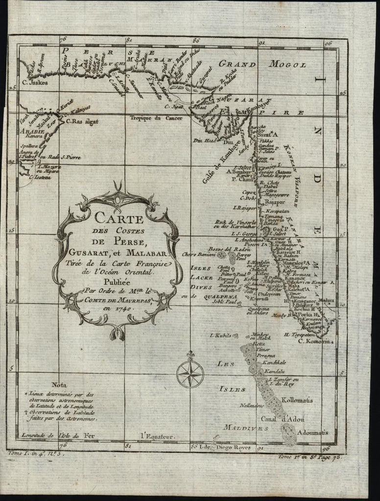 Southern Asia India Coastline Persia Maldives c.1749 antique engraved map