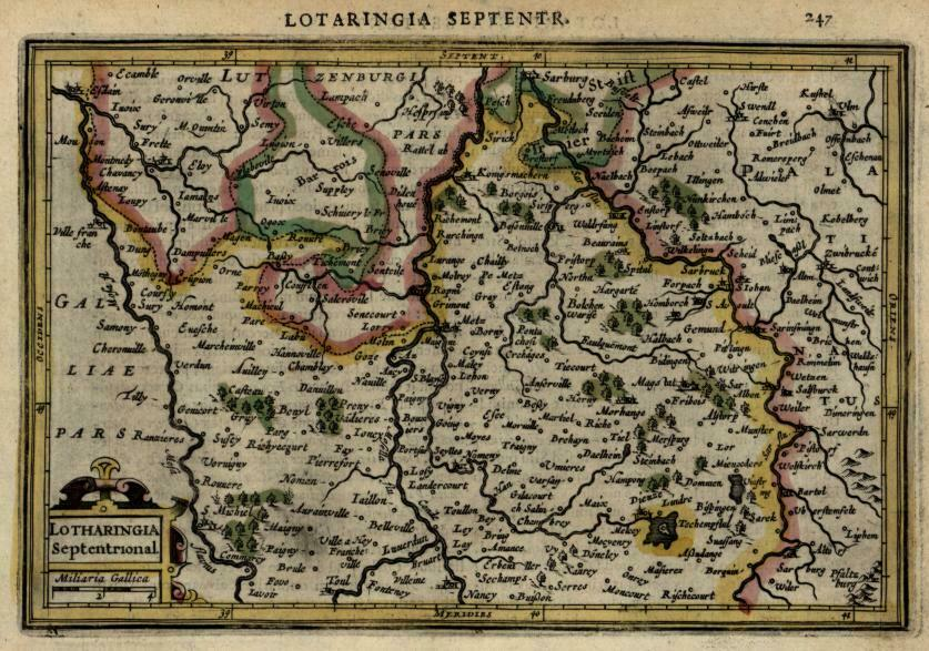 Germany Luxembourg France Lotharingia Lorraine 1628 Mercator minor map