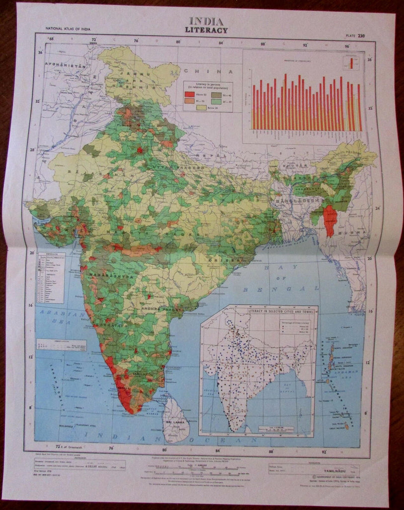 India Literacy among general population c.1978 huge National Atlas of India map