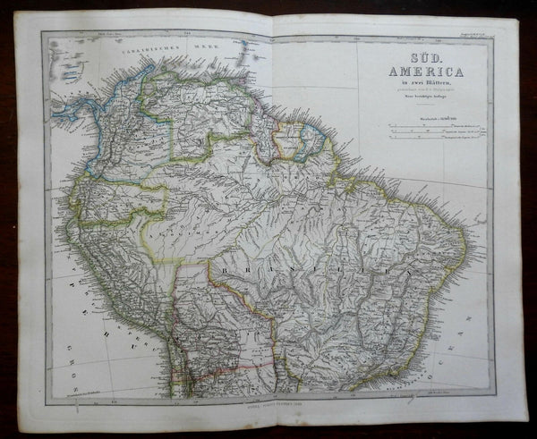 South America Two Sheet Map Brazil Peru Bolivia 1862 Stieler detailed map