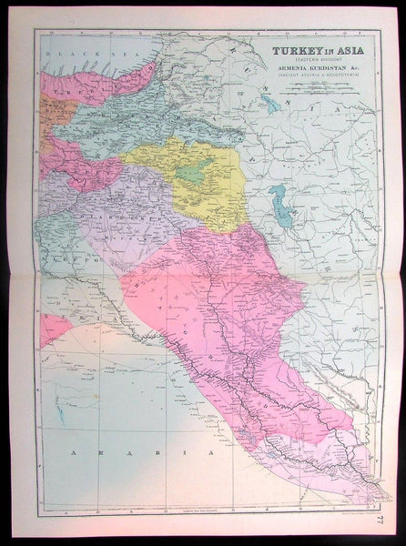 Armenia Turkey in Asia Syria Aleppo Jordan Arabia Kurdistan 1880 old color map