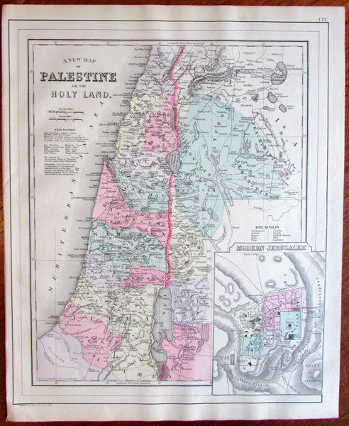 Palestine Middle East city plan inset 1887 Mitchell Bradley large old map
