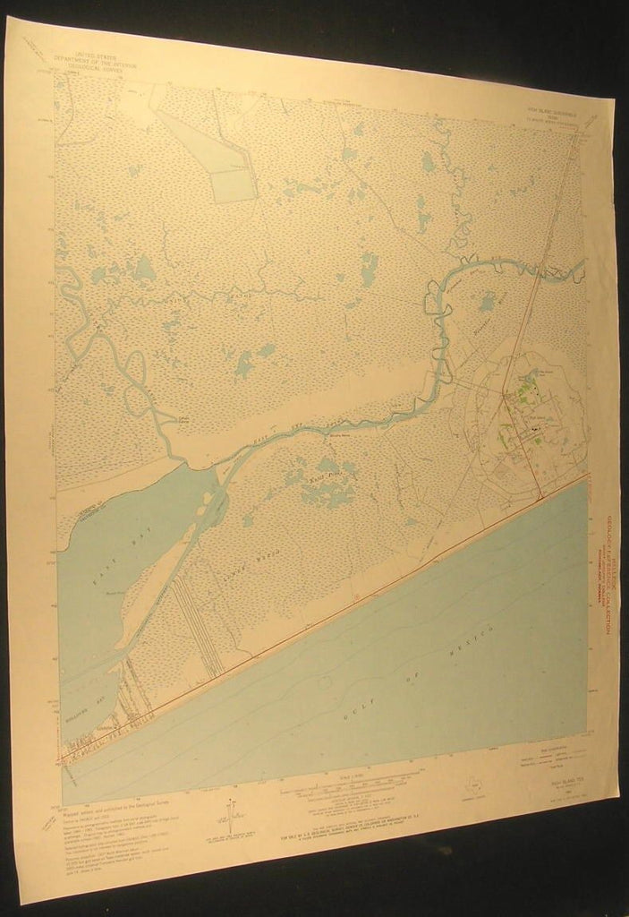 High Island Texas Rollover Bay Horseshoe Marsh 1964 antique color lithograph map