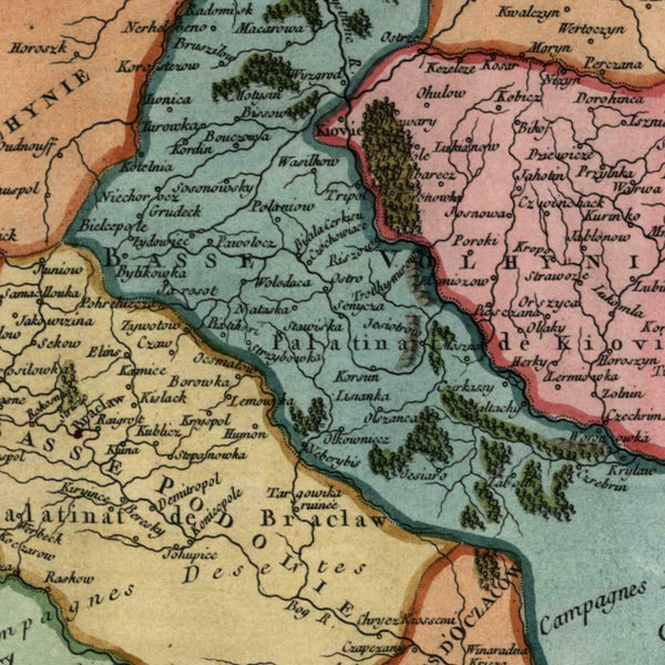 Russian Poland Podolia 1749 Vaugondy miniature engraved hand color map