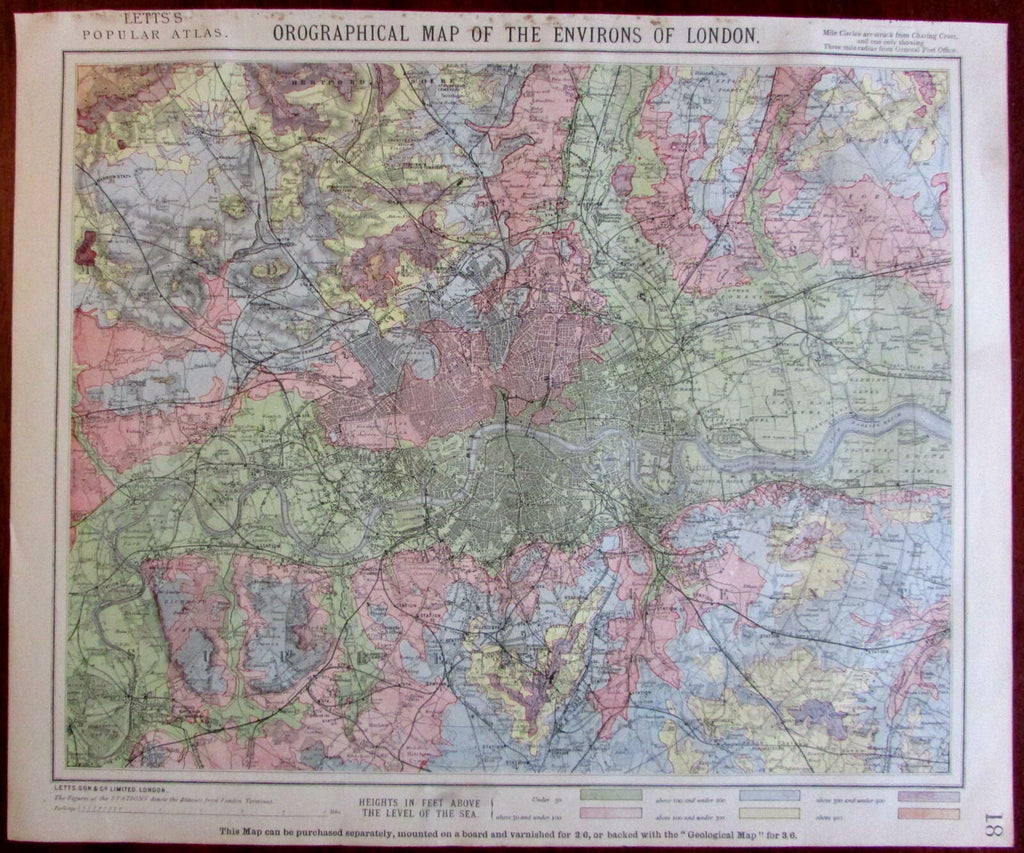 London environs city urban plan Orographical 1883 Lett's SDUK scarce detail map
