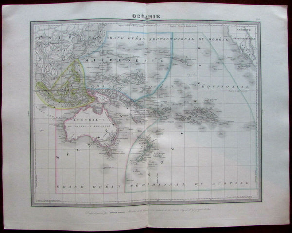 Australia New Holland Oceania Pacific islands c.1842 Tardieu map Tooley #1240