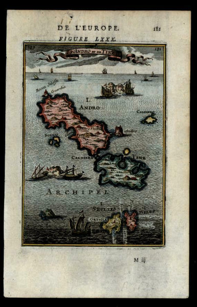 Greece Greek Cyclades Andros Tinos 1683 Mallet miniature hand colored map