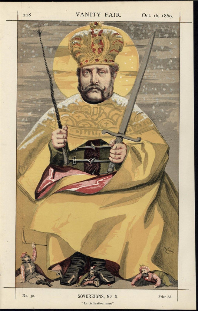 Alexander II Emperor of Russia 1869 Vanity Fair old color political cartoon