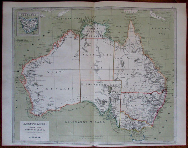 1872 Australia old lithographed outline hand color map
