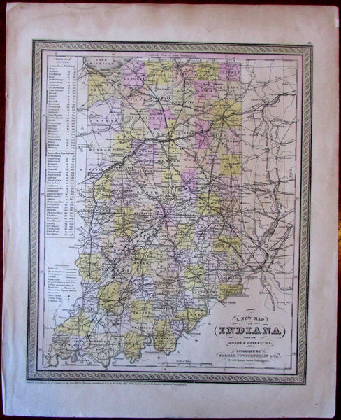Indiana state c.1850 fine Thomas Cowperthwait scarce old map