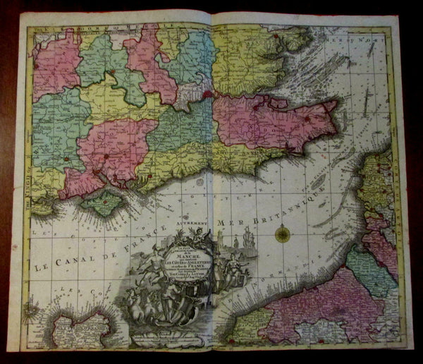English Channel South England Manche France 1740 Lotter large decorative map