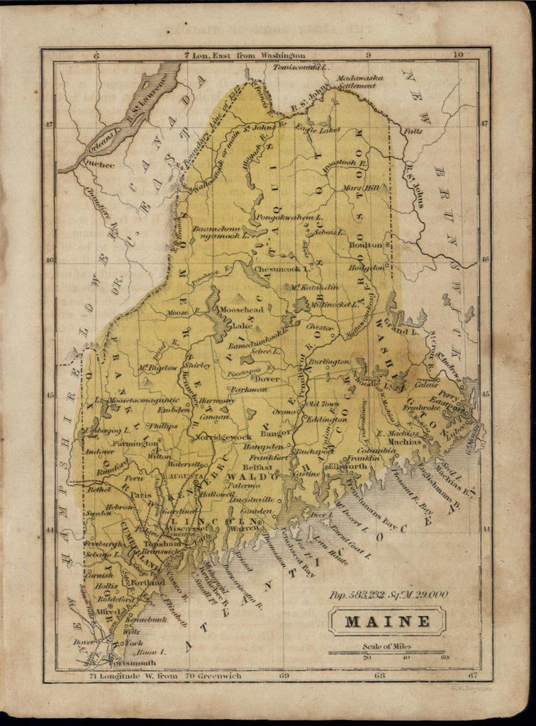 Maine state by Boynton 1852 antique state map w/ original hand color