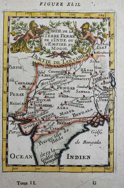 Mughal Empire Northern India Agra Dehli Bengal Gujurat Kabul 1683 Mallet map