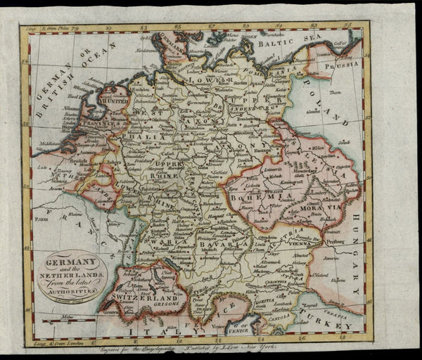 Germany Netherlands Bohemia Europe 1808 rare Doolittle American-engraved map