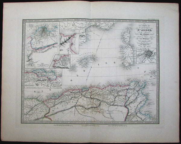 Algeria Tunisia Tunis Constantine w/ inset maps 1837 antique folio color map
