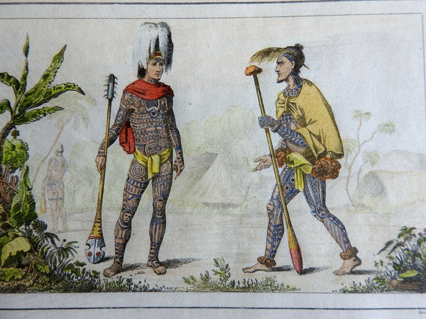 Warriors of Nuka Hiva Marquesas War Clubs Tattoos 1837 scarce French ethnic view