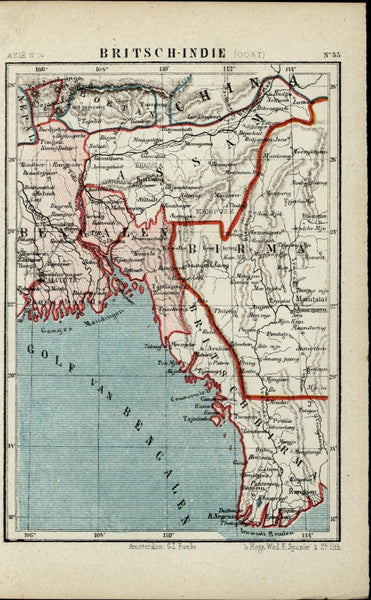 British India Burma Myanmar Bangladesh Bhutan China 1882 detailed Dutch map
