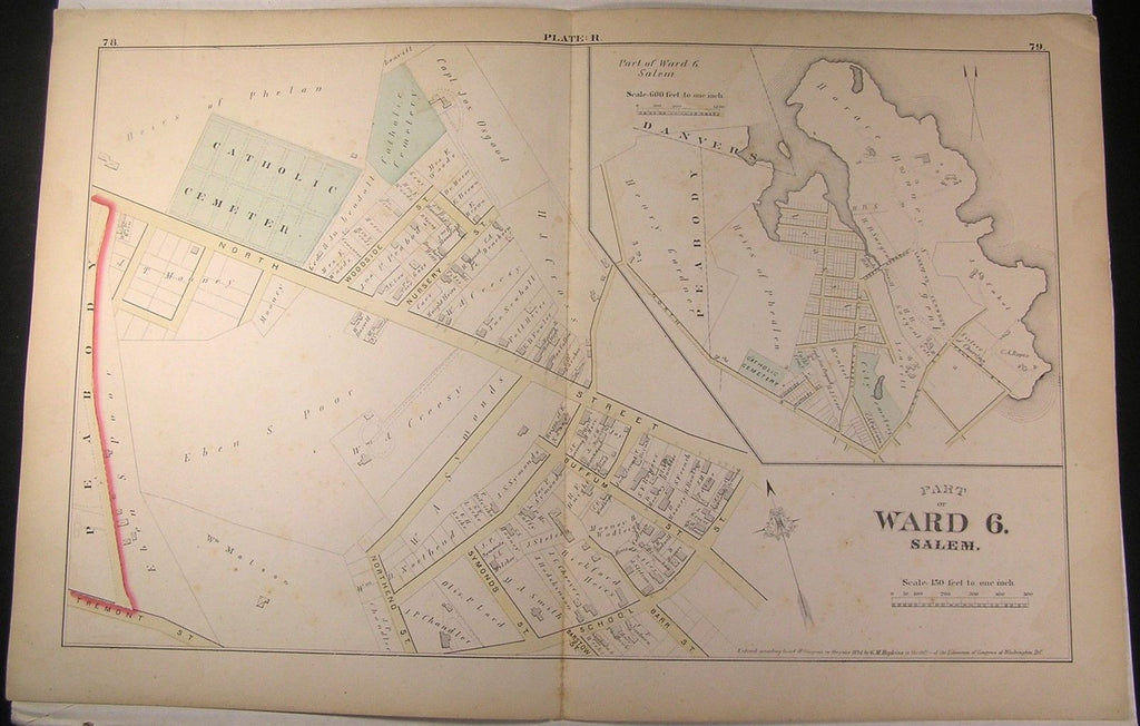Salem Massachusetts 1874 Ward 6 fine large detailed antique city plan map