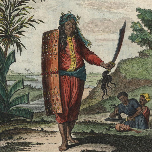 Indonesia Maluku Island Amboin c.1750 ethnic warrior print lovely color example