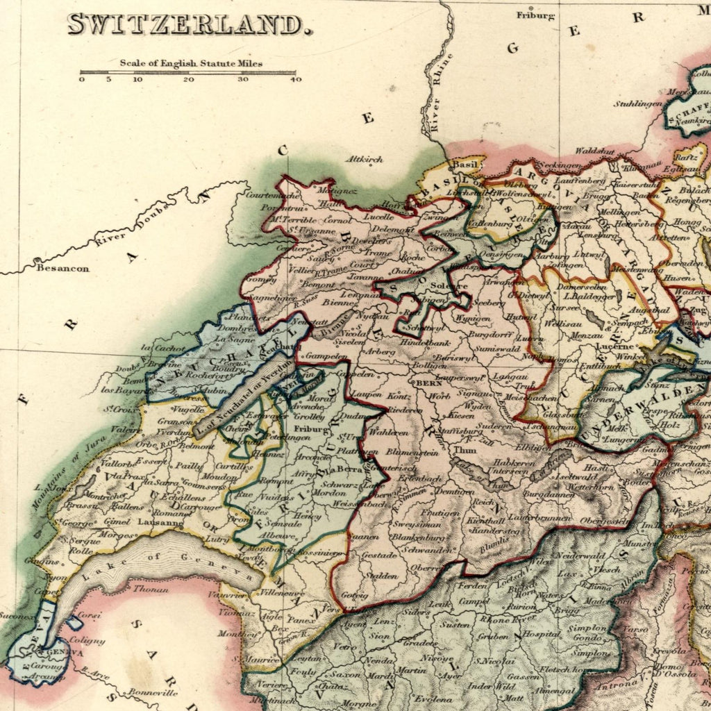 Switzerland by cantons Europe c.1840 old map by Dower Orr hand color scarce fine