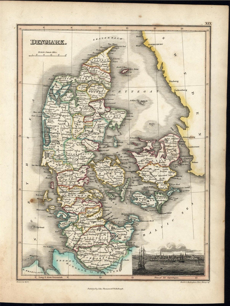Denmark w/ Copenhagen panorama view 1820's Thomson fine old vintage antique map