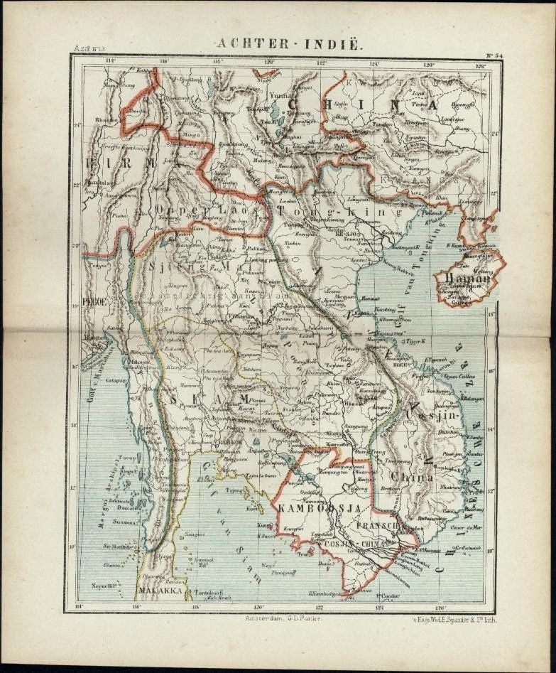 Annam Southeast Asia Siam Cambodia China scarce 1882 small Dutch old color map