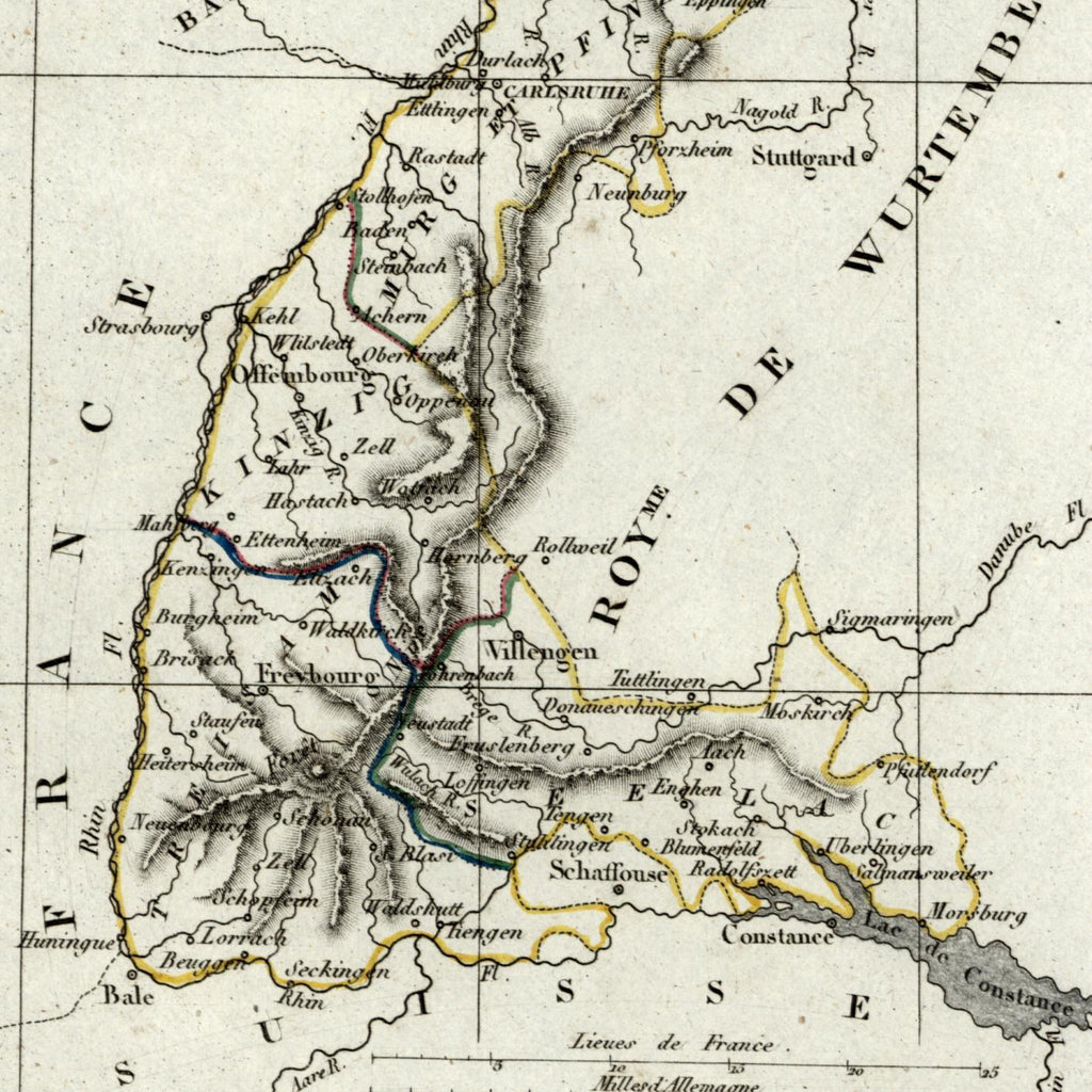 Map Of Old Germany.Germany Duche De Bade Duchy Baden Old Map 1834 Tardieu Scarce Perrot