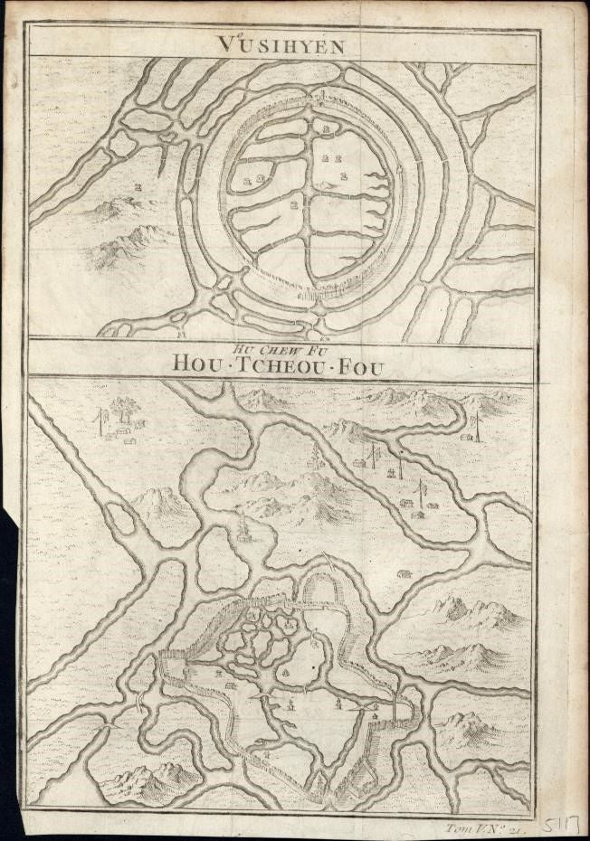Vusihyen Hou Tcheou Fou China 1749 engraved early maps plans topography