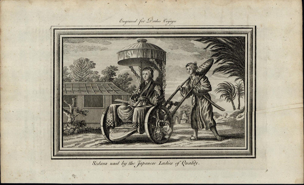 Japanese Sedan Servant Transporting Lady c 1780's fascinating old engraved print