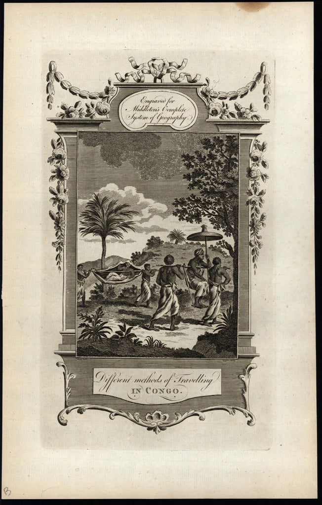 Africa Congo modes of transportation in jungle 1778 nice old engraved print